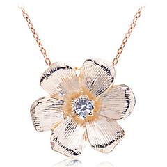 Korean Sweet  Drill Hexapetalous Flower Pendant Alloy Necklace