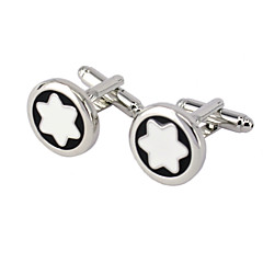 Jewelry Brass Material Cufflink, White Star Pattern