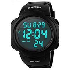 남성 스포츠 시계 손목 시계 LED 달력 크로노그래프 방수 경보 스포츠 시계 디지털 PU 밴드 블랙