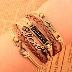 leather Charm BraceletsUnisex Multilayer Leather Bracelet Believe & Dream & Love inspirational bracelets
