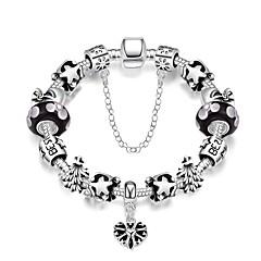 Sweet Grace Women's Irregularity Geometry Glass Tin Alloys Silver Plated Chain & Link Bracelet(Pink,Black)(1Pc)