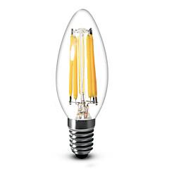 E14 LED Candle Lights C35 6 COB 600 lm Warm White Dimmable AC 220-240 V 1 pcs