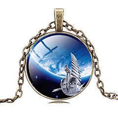 HUALUO®Cheap Retro Time Gem Star Universe Necklace