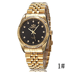 Men's High Fashion Diamond Scale Quartz Strip Golden Hand