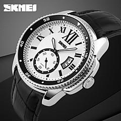 SKMEI Masculino Relógio de Pulso Quartzo Quartzo Japonês Calendário Couro Banda Preta Branco-Preto Prateado-Preto Branco/Prateado
