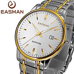 EASMAN Brand Mens Wristwatch Gold 2015 Top Designer White Classics Sapphire Luxury Solid Steel Clock Men Quartz Watch Cool Watch Unique Watch