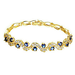 Dames Armbanden met ketting en sluiting Modieus Zirkonia Kubieke Zirkonia Verguld Blauw Transparant Sieraden VoorBruiloft Feest Dagelijks