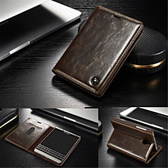 용 블랙베리 케이스 카드 홀더 / 스탠드 / 플립 케이스 풀 바디 케이스 단색 하드 천연 가죽 용 BlackBerry