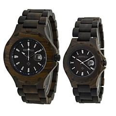 男性 女性用 リストウォッチ 腕時計 ウッド 日本産クォーツ カレンダー ウッド バンド ビンテージ ブラック ブラック