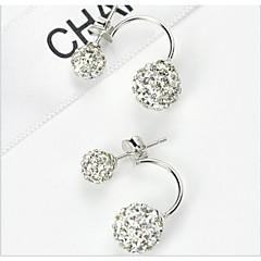 2016 New Double Side Earrings Fashion Crystal Disco Ball Stud Earrings For Women