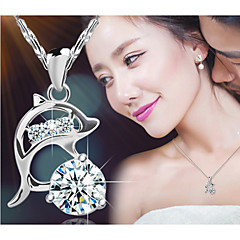 Women's Pendant Necklaces Silver Sterling Silver Crystal Fashion Silver Jewelry Party Daily Casual 1pc