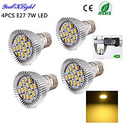 YouOKLight® 4PCS E27 7W 600lm 15*SMD5630 Warm White 3000K High quality LED Spotlight (AC110-120V/220V-240V)