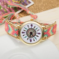 2015  Women Watches Gold Wristwatch Ladies Quartz Watches Geneva Handmade Weave Braided     Bracelet XR1235