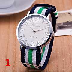 Woman And Man Striped Canvas Nylon Strap Wrist  Watch