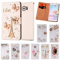 Luxury Stand Flip Leather Diamond Bowknot Flower Wallet Case For Samsung Galaxy S3/S4/S5/S5 Mini/S6/S6 Edge/S6 Edge +