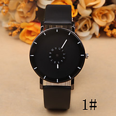 Ms. Common Male Creative Personality Double Rotating Seconds Disc Casual Leather Watch