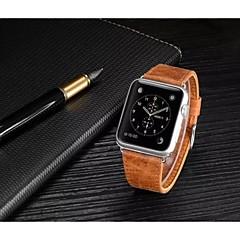 lyxigt läder klocka band rem armband ersättnings handled band med adapter spänne för Apple Watch 42mm / 38mm