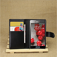 Mert LG tok Kártyatartó / Pénztárca / Állvánnyal / Flip Case Teljes védelem Case Egyszínű Kemény Műbőr LG