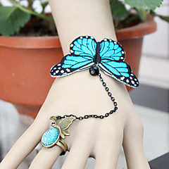 Vintage Gothic Style Lace Butterfly Adjustable Ring Bracelet for Wedding Party Decoration