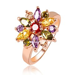 Hot Sale Unique Fashion Multicolor 18K Rose Gold Plated AAA Zircon Engagement/Weddding bijoux Rings Fine JewelryImitation Diamond Birthstone