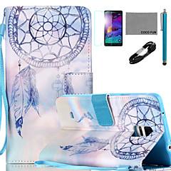For Etuier Pung Kortholder Med stativ Flip Mønster Heldækkende Etui Drømmefanger Hårdt Kunstlæder for Samsung Note 5 Note 4