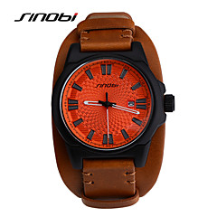 SINOBI Men's Sport Watch Wrist watch Calendar Water Resistant / Water Proof Sport Watch Quartz Leather Band Brown