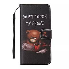 Pentru Carcasă iPhone 5 Portofel / Titluar Card / Cu Stand / Întoarce / Model Maska Corp Plin Maska Animal Greu PU pieleiPhone 7 Plus /