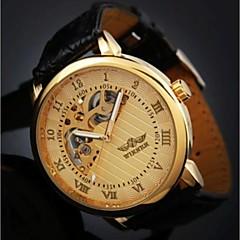 Heren Polshorloge mechanische horloges Handmatig opwindmechanisme Waterbestendig Hol Gegraveerd Leer Band Zwart Bruin Wit Zwart Gouden