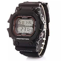 Kinder Sportuhr digital LCD / Kalender / Chronograph / Alarm Plastic Band Schwarz Marke-