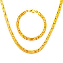 Simple Style 18K Gold Plated Trendy Necklace&Bracelets 55CM Christmas Gift Chunky Chain Link Bracelet NB60051