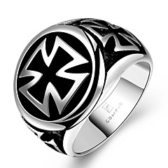 Fashion Individual No Decorative Stone Men's Stoving Varnish Circle Cross Stainless Steel Ring(Black)(1Pc)