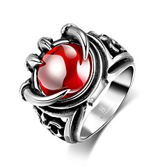 Fashion Individual Men's Red Cubic Zirconia Stoving Varnish Claw Stainless Steel Ring(Black)(1Pc) Christmas Gifts