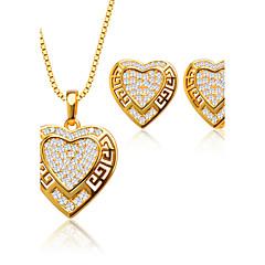 Bijoux Colliers décoratifs Boucles d'oreille Mariage Soirée Quotidien Décontracté Zircon Cuivre Plaqué or 1set Femme CoupleCadeaux de