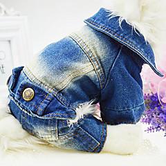 Hond Jumpsuits Denim jacks Hondenkleding Cowboy Modieus Jeans Wit Blauw