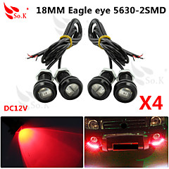 førte eagle eye dagtimerne kører DRL backup lys tåge bil auto rød 12v 18mm 9w x 4