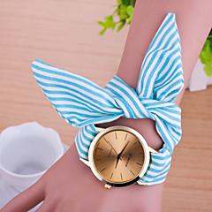 Women Korean Fashion Cute Stripe Fabric Bow Bracelet Watch Cool Watches Unique Watches