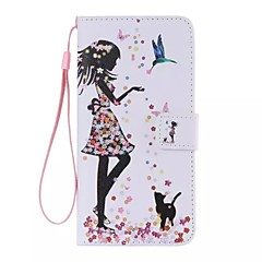 For iPhone 7 Plus The bird girl Painted PU Phone Case for iPhone 6s 6 Plus SE 5s 5c 5 4s 4