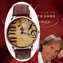 läderrem titta på kvarts armbandsur retro kopparlegering plattan trendiga musik noterar yta titta gåvor