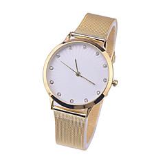 Ginebra de la manera relojes mujeres de los hombres de acero inoxidable reloj de cuarzo correa de la muñeca de oro amarillo