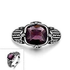 Поощрительная классических щедрым мужской фиолетовый стекло кольцо из нержавеющей стали (черный) (1шт)