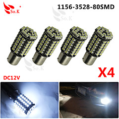4x Car 1157 BAY15D 80 SMD 3528 LED Xenon White Tail Turn Signal Light Lamps Bulbs