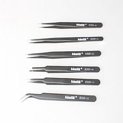 pincettes non magnétiques noires, sac antistatique pour l'électronique, la fabrication de bijoux, laboratoires, etc. (6p)