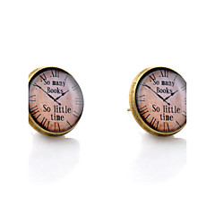 Lureme® Vintage Jewelry Time Gem Series Pocket watch Antique Bronze Disc Stud Earrings for Women and Girls