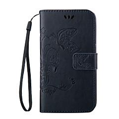 Na Samsung Galaxy Etui Etui Pokrowce Portfel Etui na karty Z podpórką Flip Wytłaczany wzór Futerał Kılıf Motyl Miękkie Skóra PU na Samsung