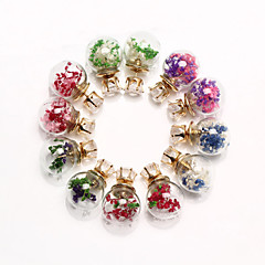 HUALUO®Korea bubble glass balls flowers and grass double-sided earrings wholesale