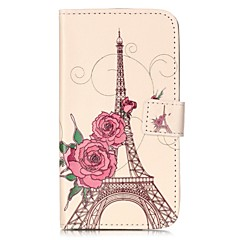 For LGK10 K7 K8 V10 LS775 Case Cover Rose Tower Pattern Painting Card Stent PU Leather Phone Case