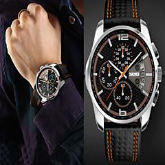 Мужской Наручные часы Кварцевый Защита от влаги Кожа Группа Черный / Красный / Оранжевый / Желтый бренд-