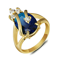 2016 Luxurious Imperial Crown 18K Gold Plated Blue Engagement Rings For Women