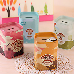 1PC Mini Cute Monkey Piggy Bank Huanhuan Monkey Tinplate Piggy Bank Multi-Functional Pen Container(Style random)