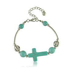 Heren Dames Vintage Armbanden Birthstones Geboortestenen Turkoois Legering Kruisvorm Sieraden Voor Bruiloft Feest Dagelijks Causaal Sport